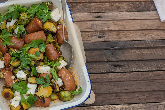 Fast Roast Chorizo & Brussels Sprouts with Hot Feta-2