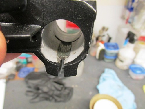 "Serrated Perch Installed in ""V"" Groove in Bottom of Lever Housing Handlebar Hole"