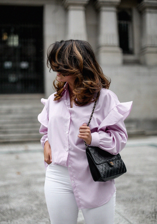camisa rayas rosa dias como estos bailarinas lazo negras hm myblueberrynightsblog8