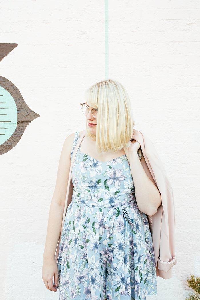austin fashion blogger writes like a girl pastel floral romper blush blazer9