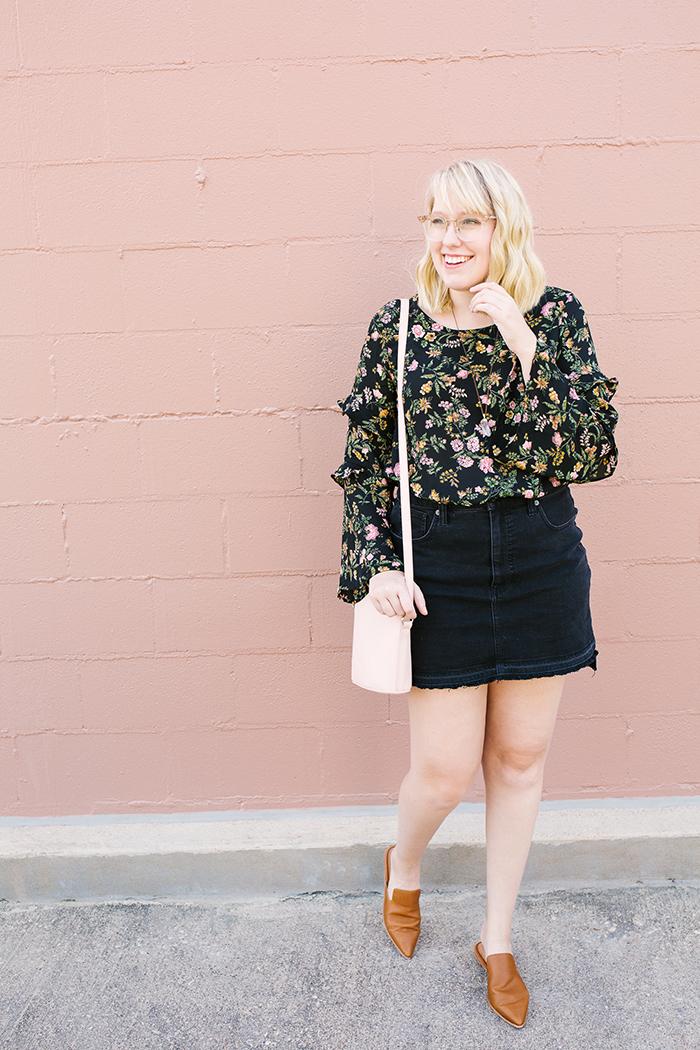 writes like a girl austin fashion blogger bell sleeves denim skirt1