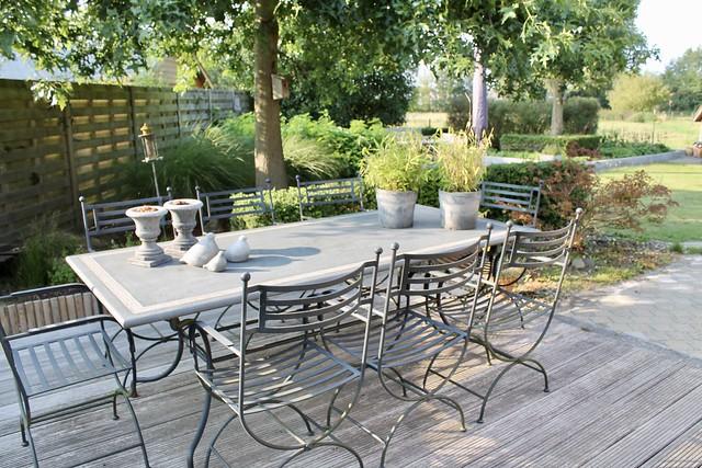 Tuinset Franse stijl houten vlonder