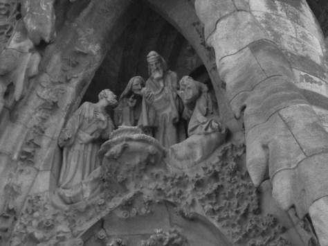 Barcelona Sagrada Familia facade detail B&W
