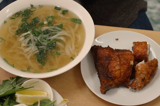 Pho with crispy skin chicken