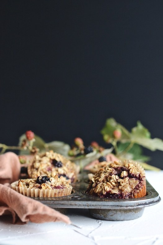 blackberry walnut oat muffins