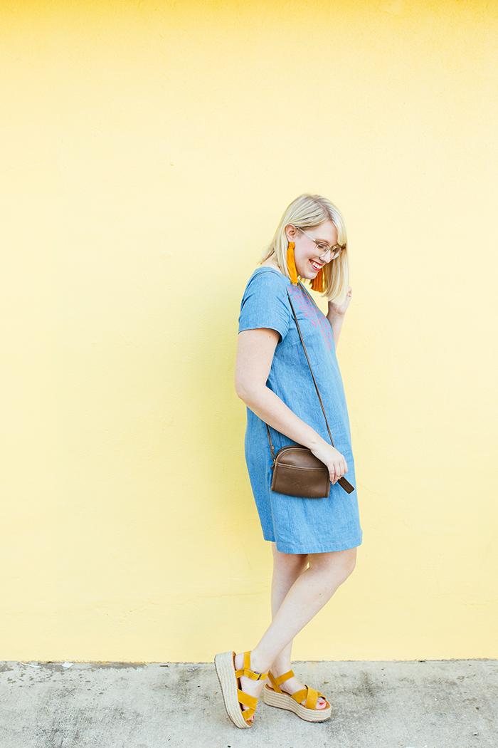 austin style blogger writes like a girl embroidered denim shift dress12
