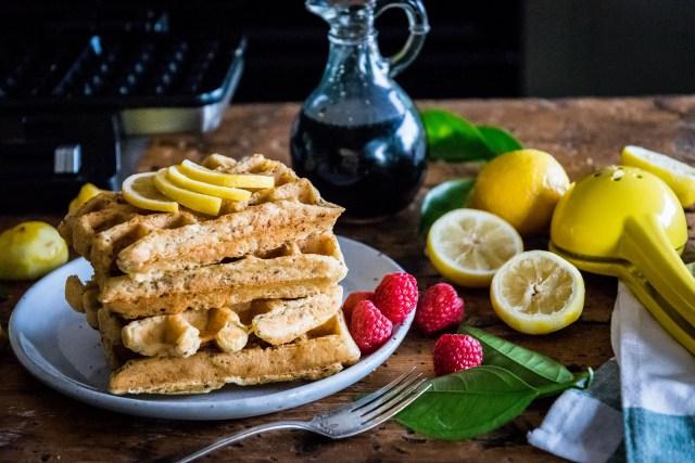 lucia's vegan lemon waffles