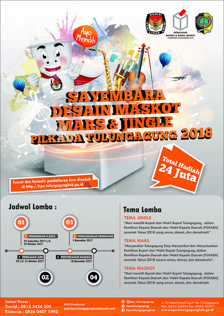 Poster Sayembara Desain Maskot, Mars dan jingle yang di gelar oleh KPU Tulungagung (22/9)