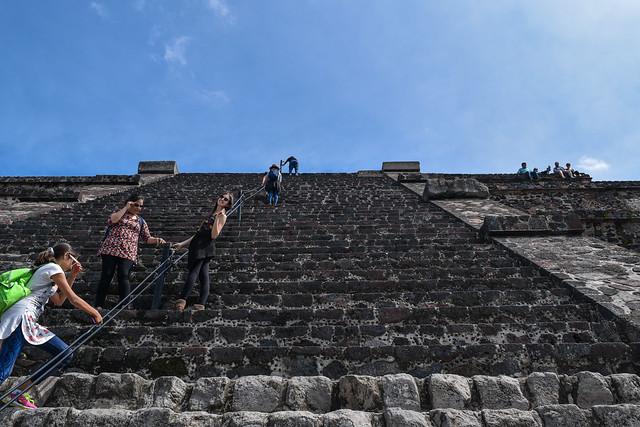Briana Climbing the Pyramid of the Moon