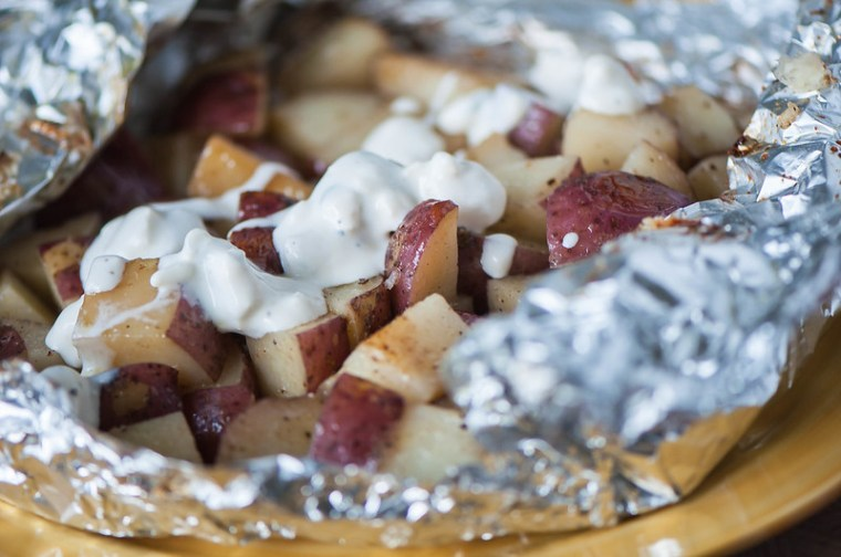 Foil Packet Potatoes with Blue Cheese Dressing