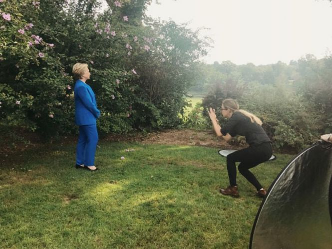 Luisa Dörr, right, photographs secretary Hillary Rodham Clinton, in Chappaqua, New York on Sept. 5, 2017..v1