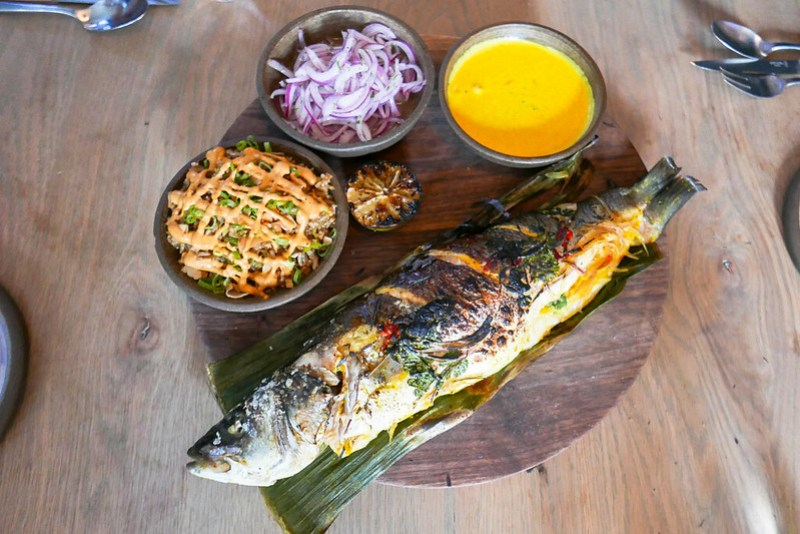 Whole Branzino Patarashca, Banana Leaf, Aji Amarillo, Salsa Criolla, Choclo, Coconut RIce ($60)