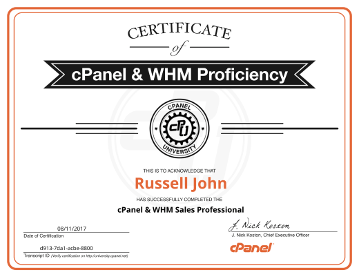 cPanel & WHM Sales Professional