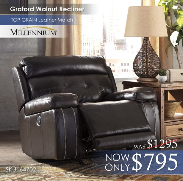 Graford Walnut Recliner 64702-13-OPEN