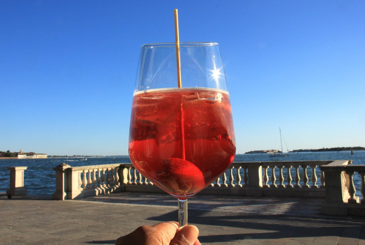Spritz is campari with olive and served with a smile in Venice
