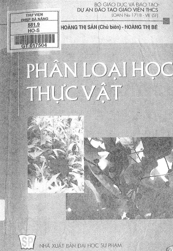cuốn sách phân loại học thực vật của tác giả Hoàng Thị Sản