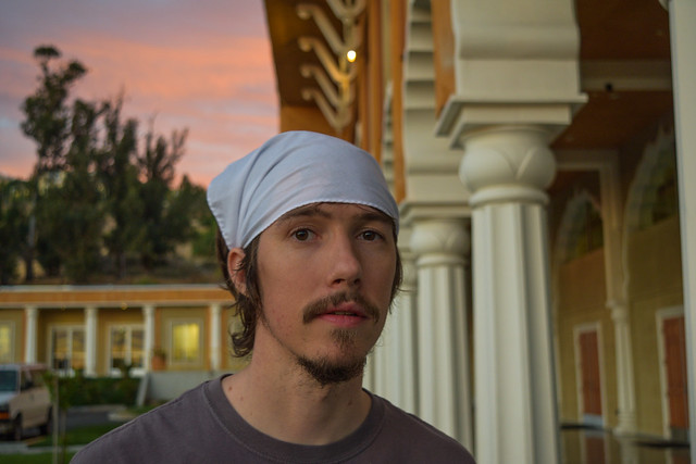 Kyle wearing a bandana