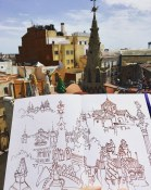 Brenda Swenson ink sketch in Barcelona with www.frenchescapade.com