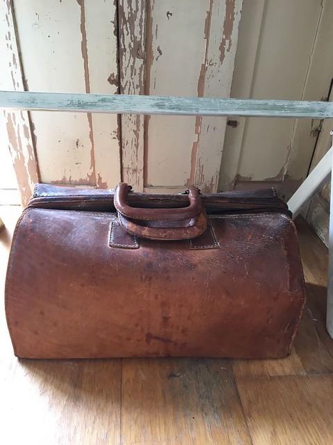 Oude leren tas