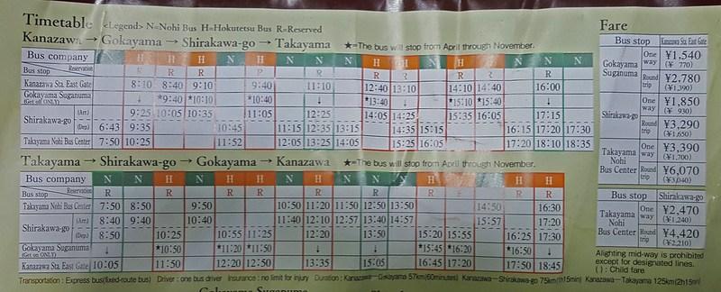 bus schedule kanazawa to shirakawa-go to takayama