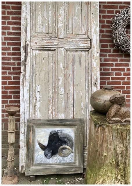 Oude deur schilderij ram