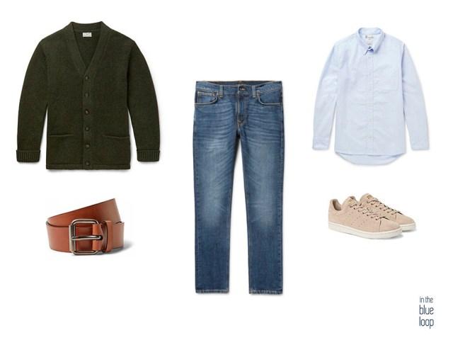 Vaqueros, cárdigan, camisa azul, cinturón y sneakers para un look masculino casual