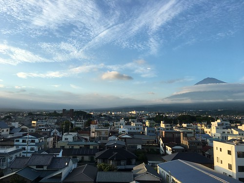 Mt. Fuji towering over the rooftops of Fujinomiya
