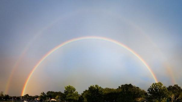 Bright Double Rainbow after Hurricane Irma