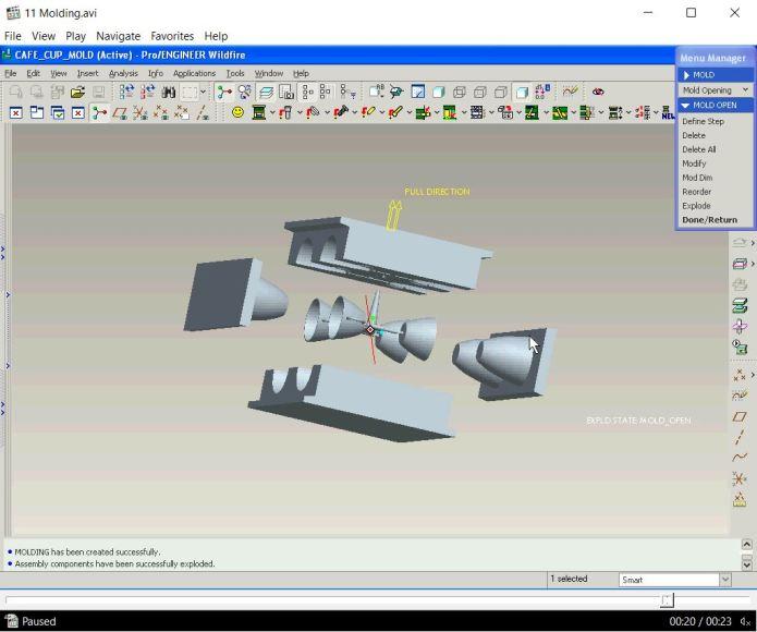 Video hướng dẫn tách khuôn trong proengineer