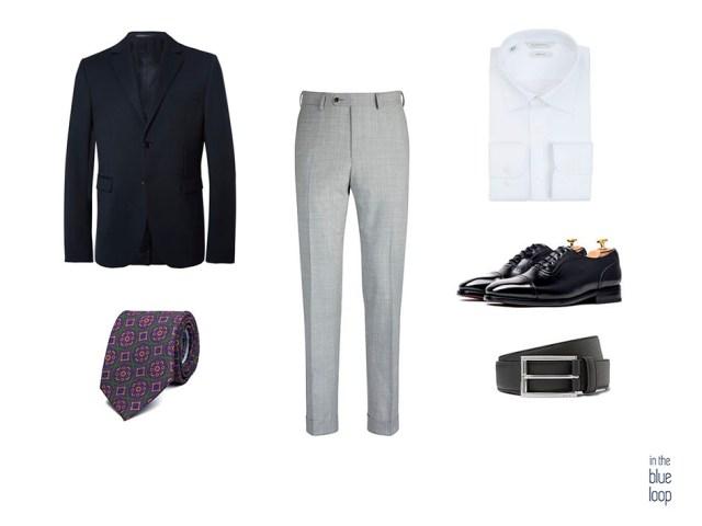 Look hombre smart-casual con blazer azul marina, pantalones de vestir grises, zapatos oxford, corbata y camisa blanca