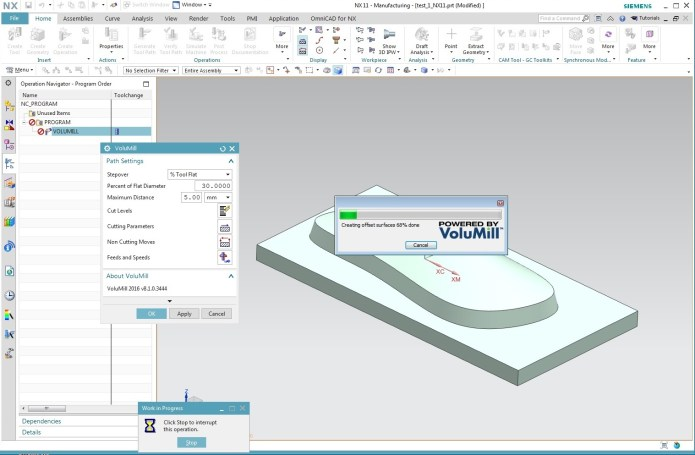 Working with VoluMill v8.1.0.3444 for NX-11.0 full license
