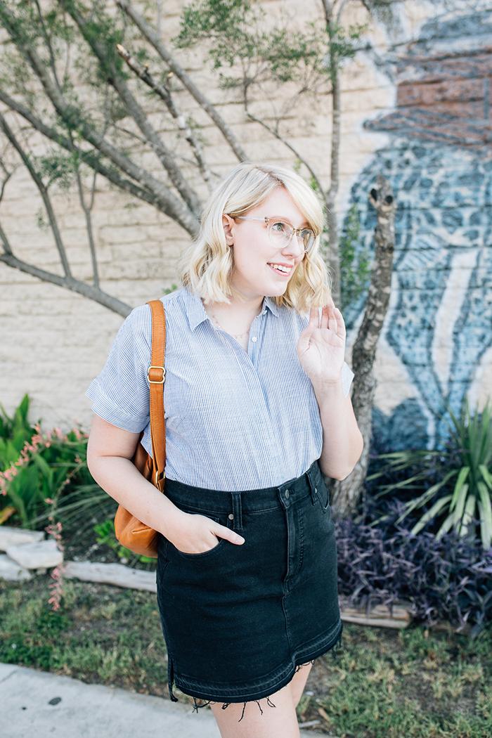 austin style blogger writes like a girl madewell denim skirt4