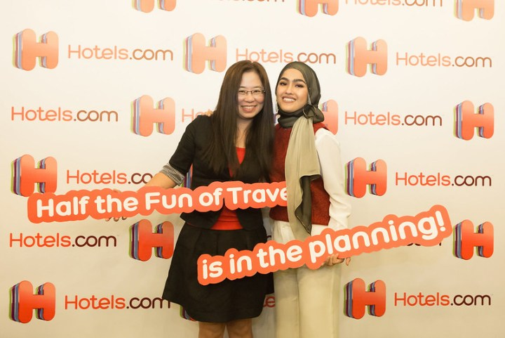 "Hotels.com's Regional Marketing Director Jessica Chuang with actress Elfira Loy during the launch of the ""Half the Fun of Travel"" campaign"