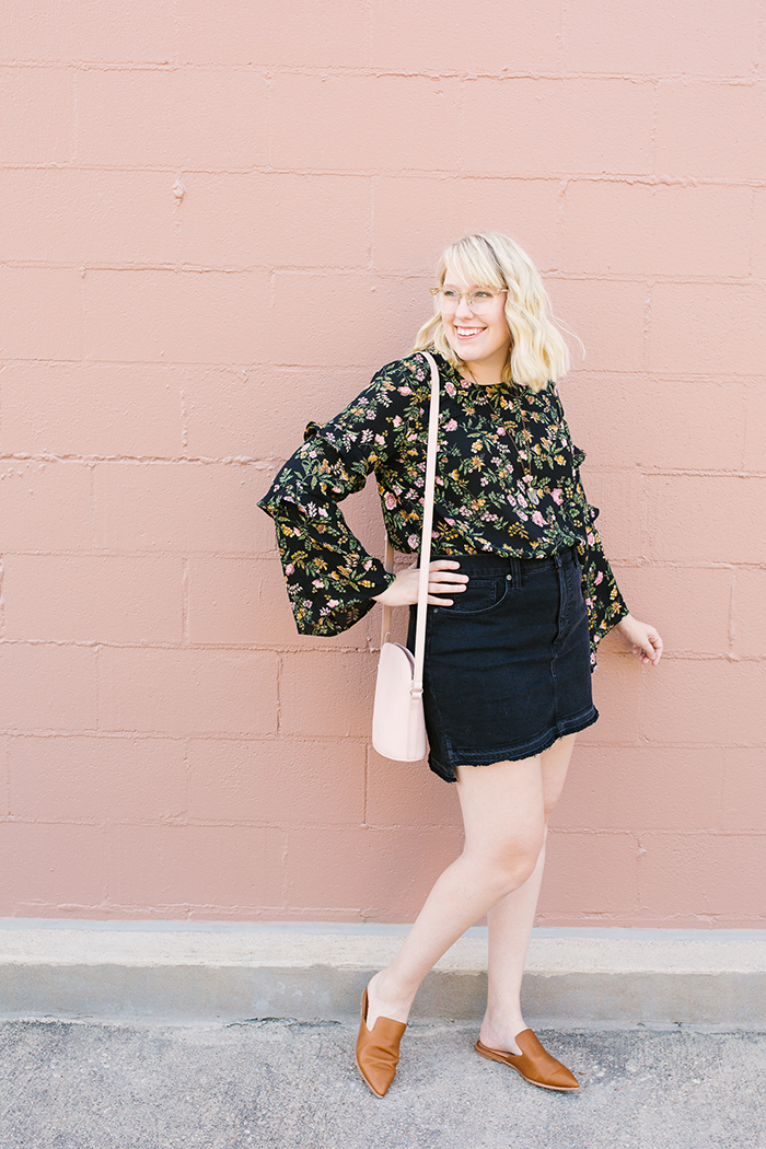 writes like a girl austin fashion blogger bell sleeves denim skirt3