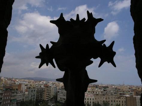 Barcelona Sagrada Familia vista through tower window