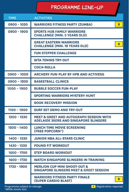 Sports Hub Play Day Programme