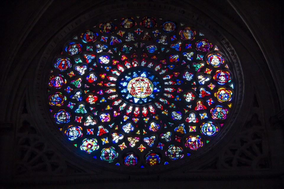 Vidriera roseton Catedral de Toledo