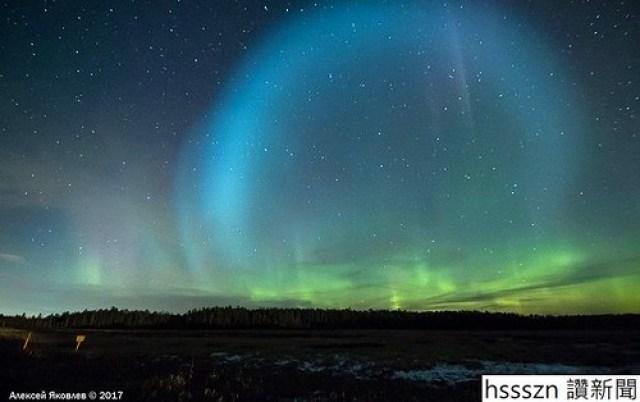 Giant glowing ball lighting in Arctic
