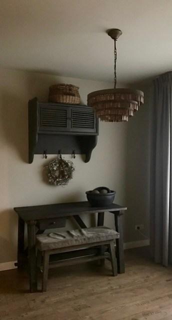 Sidetable bankje krans Hoffz lamp