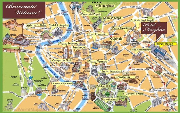 Turistico Español Mapa Turistico De Roma A Pie.Visitar Roma En 5 Dias Alojamiento Transporte Y Visitas