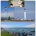 Point Arena Lighthouse, California,and the coast near the lighthouse.