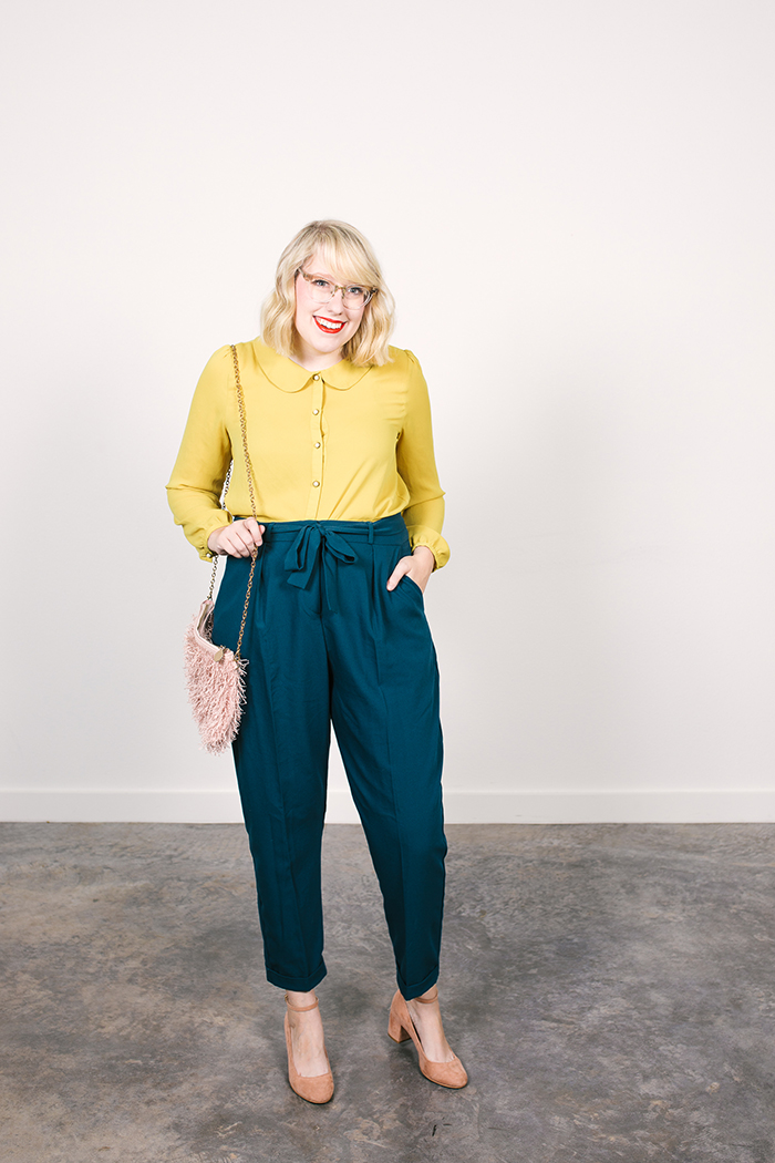 colorful fall capsule teal obi tie trousers yellow blouse3