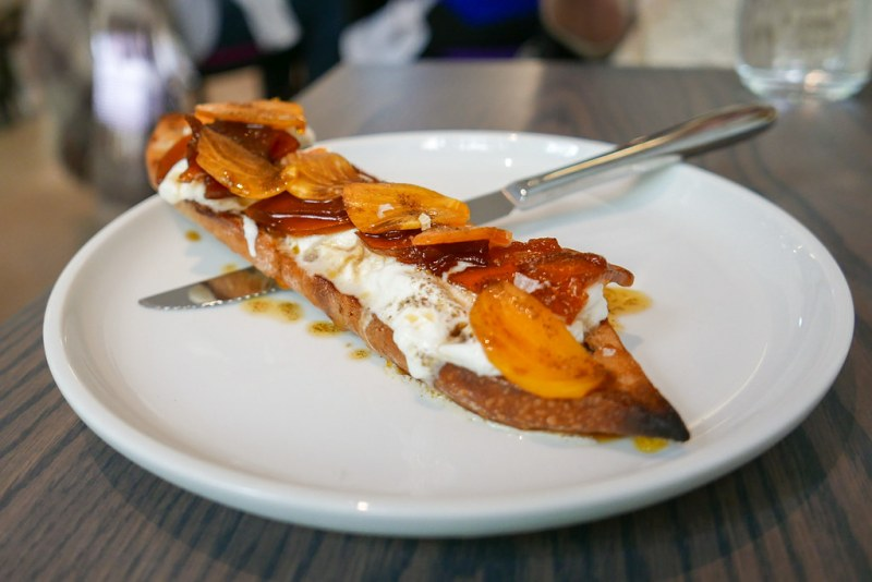 Burrata Toast, Candied Squash, Persimmon, Charred Ginger ($14)