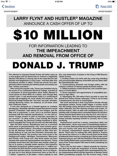 $10 Million for Information Leading to the Impeachment and removal from office of Donald J. Trump
