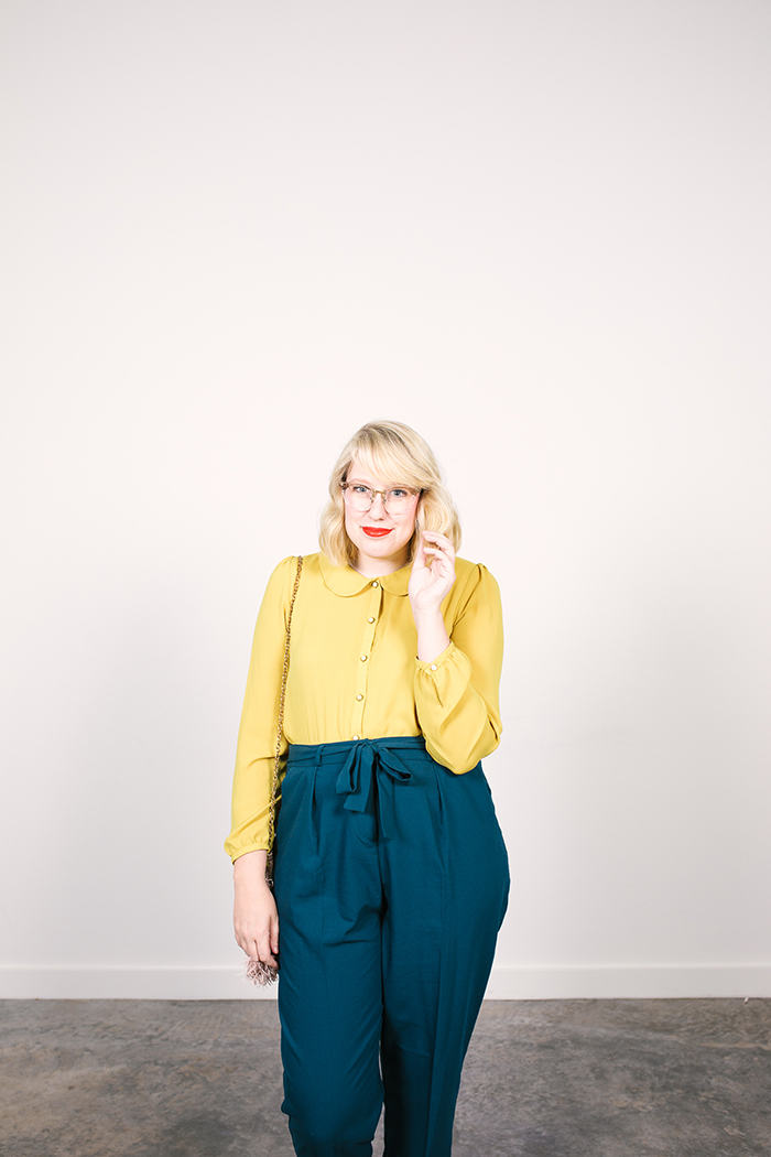 colorful fall capsule teal obi tie trousers yellow blouse5