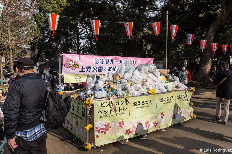 Déchets dans le parc d'Ueno