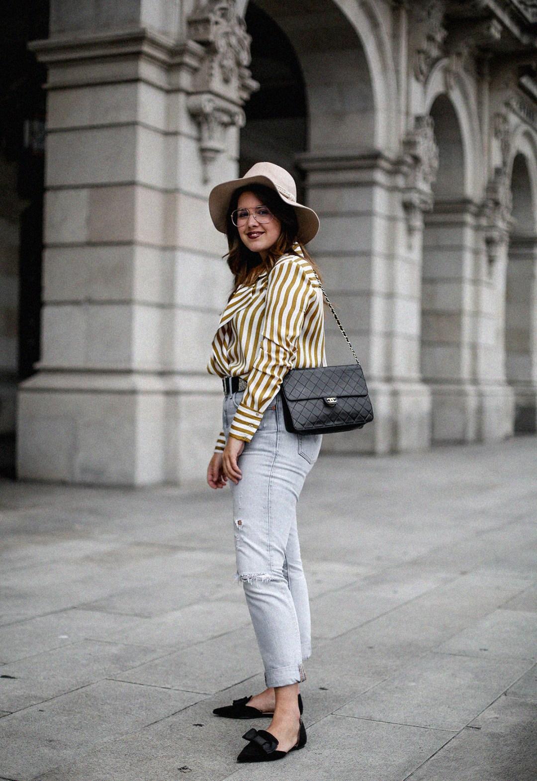 blusa rayas mostaza zara levis skinny 501 streetstyle5