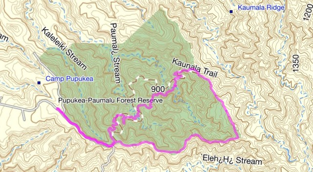 Kaunala Trail Topo Map