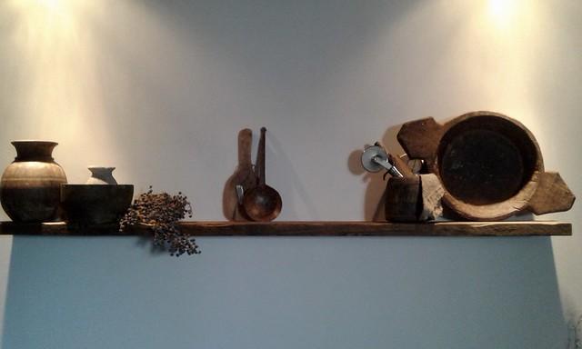 Plank keuken houten schaal en lepels
