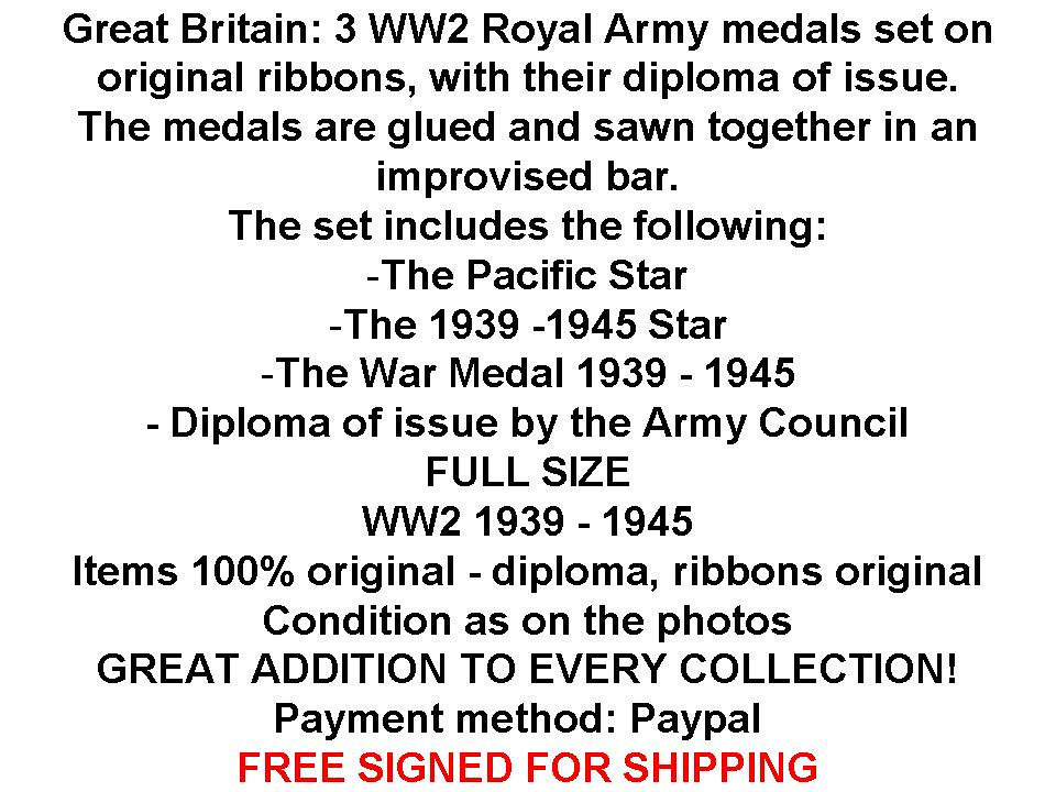 Britain WW2 Pacific Star 1939 1945 War Medal Army British